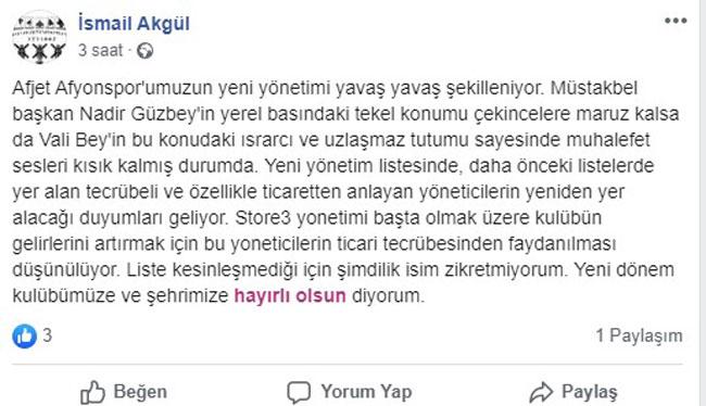 AFJET AFYONSPOR'DA YÖNETİM ŞEKİLLENİYOR MU?..