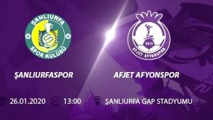 AFJET AFYONSPOR'UN RAKİBİ ŞANLIURFASPOR