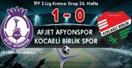 AFJET AFYONSPOR, ZOR DA OLSA KAZANDI:1-0
